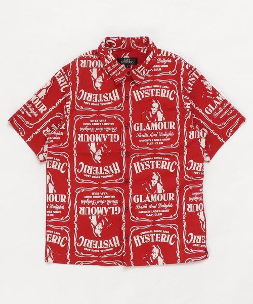 WHISKY柄 スタンダードカラーシャツ【L】