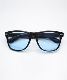 サングラス べっ甲 ボストン型 ウェリントン型 カラーレンズ/MONO-MART Select(サングラスケース箱付き)ブルー系その他3