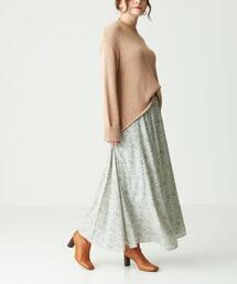 SMF フラワープリント ウエストギャザースカート