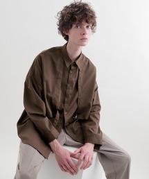ヨークトレンチレイヤードワイドシャツ Long sleeve(EMMA CLOTHES)ダークブラウン