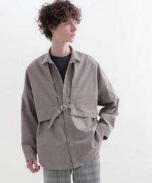 ヨークトレンチレイヤードワイドシャツ Long sleeve(EMMA CLOTHES)グレー系その他