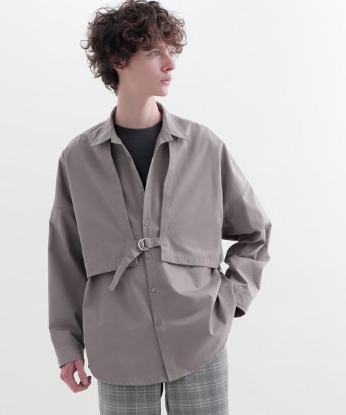 ヨークトレンチレイヤードワイドシャツ Long sleeve(EMMA CLOTHES)