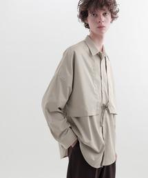 ヨークトレンチレイヤードワイドシャツ Long sleeve(EMMA CLOTHES)グレイッシュベージュ