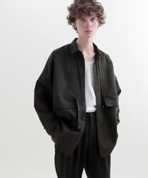ヨークトレンチレイヤードワイドシャツ Long sleeve(EMMA CLOTHES)ブラック
