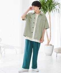 TRストレッチ ビッグステッチ オーバーサイズ レギュラカラーCPOシャツ(1/2 sleeve) -2021SUMMER-グリーン系その他