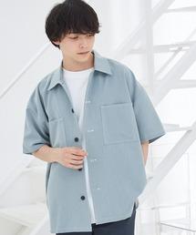 TRストレッチ ビッグステッチ オーバーサイズ レギュラカラーCPOシャツ(1/2 sleeve) -2021SUMMER-ブルー系その他