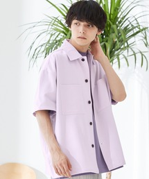 TRストレッチ ビッグステッチ オーバーサイズ レギュラカラーCPOシャツ(1/2 sleeve) -2021SUMMER-ライラック