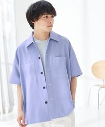 TRストレッチ ビッグステッチ オーバーサイズ レギュラカラーCPOシャツ(1/2 sleeve) -2021SUMMER-サックスブルー