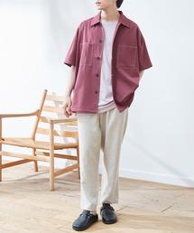 TRストレッチ ビッグステッチ オーバーサイズ レギュラカラーCPOシャツ(1/2 sleeve) -2021SUMMER-ダークパープル