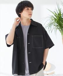 TRストレッチ ビッグステッチ オーバーサイズ レギュラカラーCPOシャツ(1/2 sleeve) -2021SUMMER-ブラック