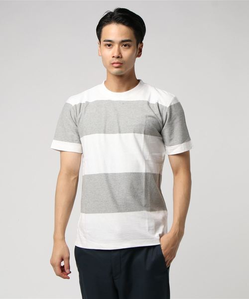 :梨地ボーダーTシャツ