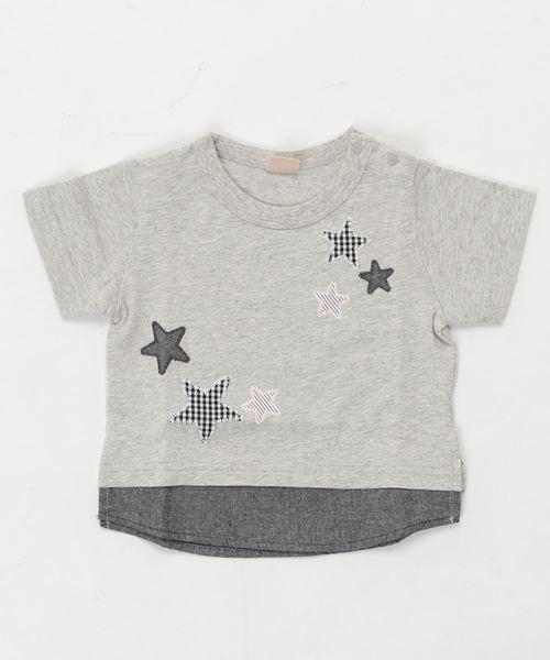 星アップリケレイヤード風半袖Tシャツ