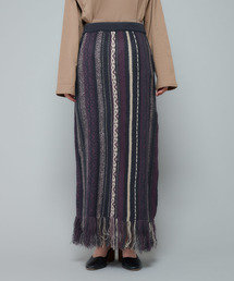 CIAOPANIC(チャオパニック)のジャガードニットフリンジタイトスカート(スカート)