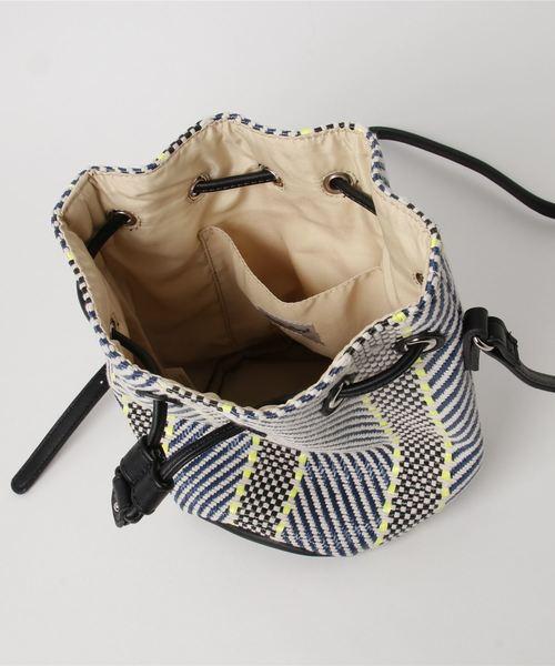 織り柄生地巾着ショルダー