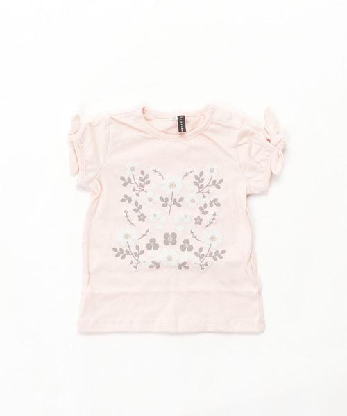 やわらか天竺 お花イラスト半袖Tシャツ