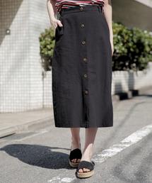 Heather(ヘザー)のフロントボタンリネンスカート 831924(スカート)