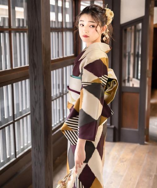 KIMONOMACHI オリジナル 2020-2021 洗える着物 袷 2点セット(着物+京袋帯) M/L