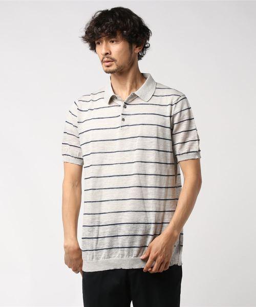 ROBERTO COLLINA / リネンボーダーポロシャツ ホワイト/50(エストネーション)◆メンズ ポロシャツ