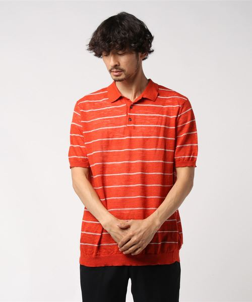 ROBERTO COLLINA / リネンボーダーポロシャツ オレンジ/50(エストネーション)◆メンズ ポロシャツ