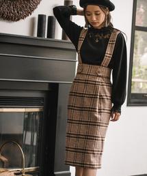 mysty woman(ミスティウーマン)のサス付きハイウエストタイトスカート 855194(スカート)