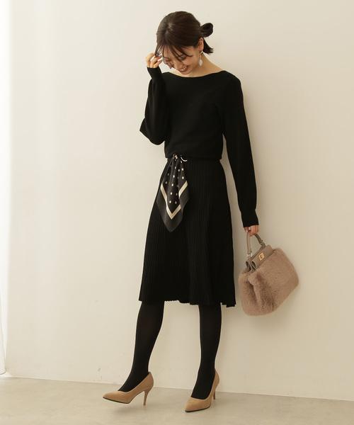 PROPORTION BODY DRESSING(プロポーションボディドレッシング)の「スカーフベルトニットワンピース(ワンピース)」|ブラック