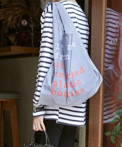KIND BAG(カインドバッグ)の「〈KIND BAG/カインドバッグ〉プラスチック再生エコバッグ(エコバッグ/サブバッグ)」|グレー×ピンク