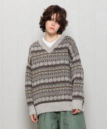 <H>FAIRISLE V NECK KNIT/ニット