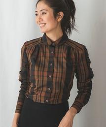 NARACAMICIE(ナラカミーチェ)のイタリアンチェックラウンドカラー長袖シャツ(シャツ/ブラウス)
