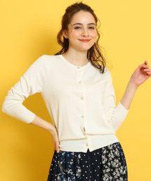 couture brooch(クチュールブローチ)の【WEB限定サイズ(LL)あり】【手洗い可】【UVケア】フラワーパールボタン ニットカーディガン(カーディガン)