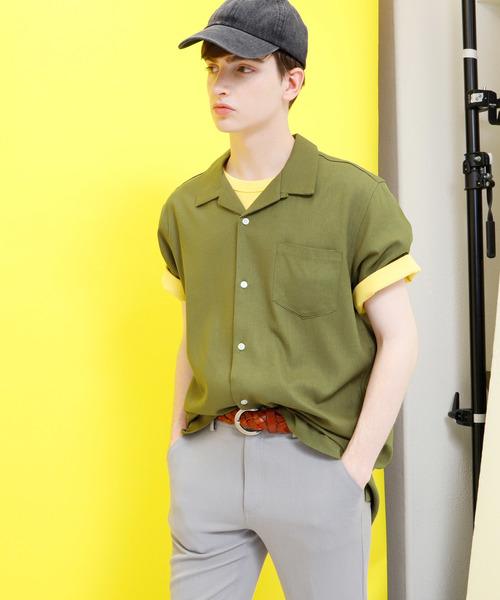 麻レーヨンオープンカラーシャツ 1/2 sleeve