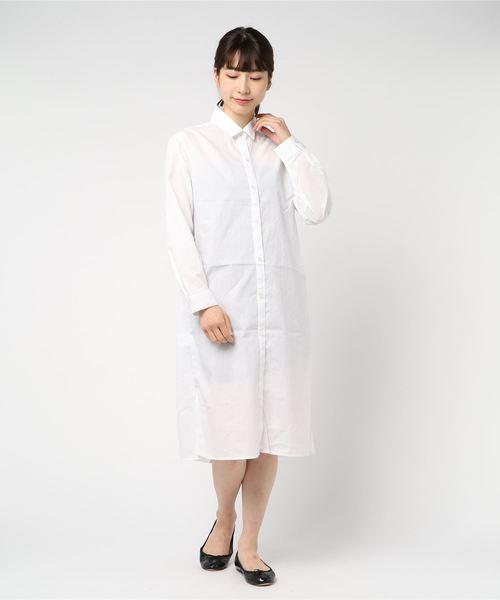 MEW'S REFINED CLOTHES(ミューズリファインドクローズ)の「CVC ロングシャツワンピース(シャツワンピース)」|ホワイト