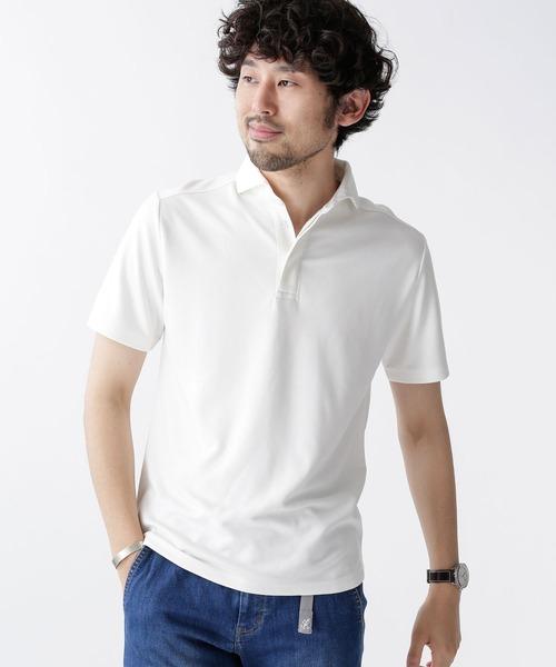 nano・universe(ナノユニバース)の「ストレッチジャージーシャツポロ(ポロシャツ)」 ホワイト