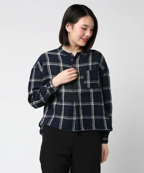 D.M.G. / ディーエムジー リネンチェックスタンドカラーシャツ 16-559
