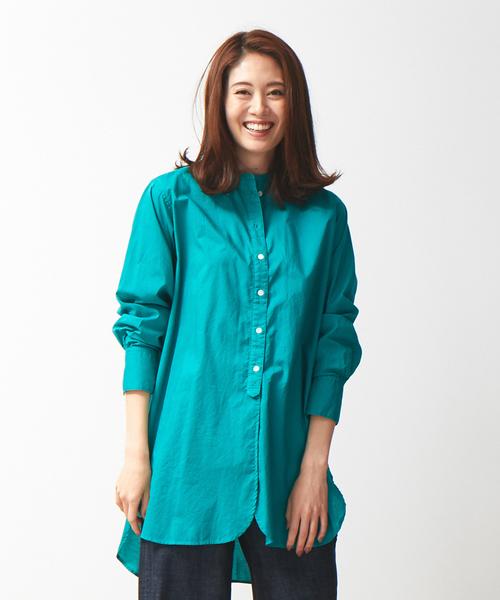 collex(コレックス)の「製品染めチュニックシャツ(シャツ/ブラウス)」|グリーン