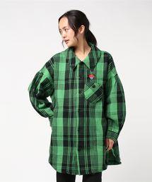 HYS DEAD BEAR刺繍 長袖ステンカラーシャツグリーン系その他