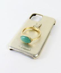 【 Hashibami / ハシバミ 】  iPhone 11/XR スマホ・携帯カバー 天然石リング付きケースゴールド