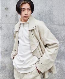 【セットアップ】ビッグシルエット コーデュロイ ダブルデザイン セットアップ (オーバーサイズダブルジャケット/パンツ)アイボリー