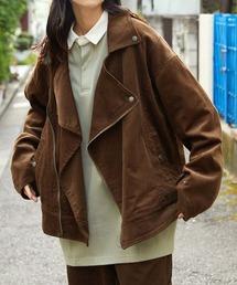 【セットアップ】ビッグシルエット コーデュロイ ダブルデザイン セットアップ (オーバーサイズダブルジャケット/パンツ)ブラウン