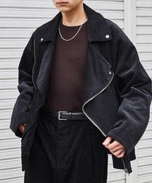 【セットアップ】ビッグシルエット コーデュロイ ダブルデザイン セットアップ (オーバーサイズダブルジャケット/パンツ)ブラック