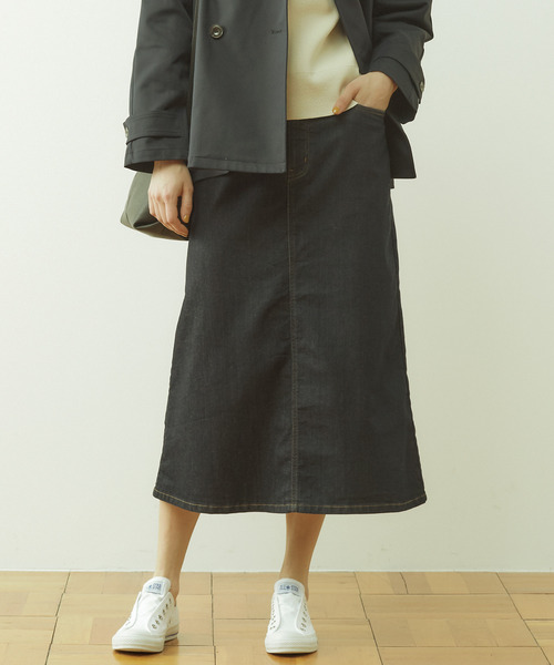 TCストレッチデニム台形ロングスカート