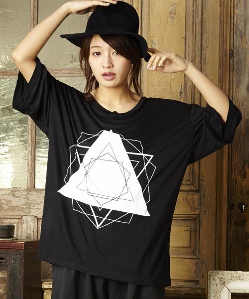 グラフィックプリントTシャツ ビッグシルエットカットソー ビッグシルエットドロップショルダーTシャツ ビッグTシャツ