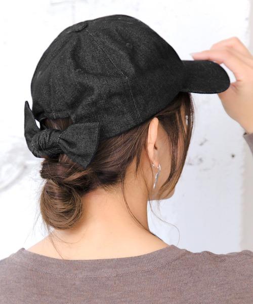 14+(イチヨンプラス)の「デニムリボンCAP 14+オリジナル バックリボン キャップ レディース 帽子 BIG(キャップ)」 ブラック
