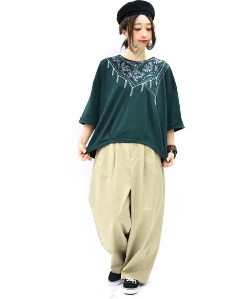 スカーフ刺繍ドルマンワイド7分袖カットソー