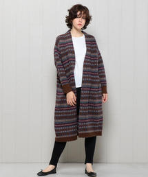 <H>FAIRISLE LONG CARDIGAN/カーディガン