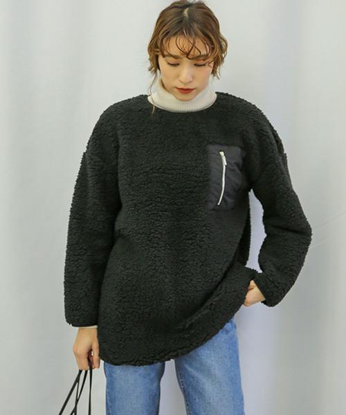 ボアチュニックプルオーバー(長袖もこもこ素材胸ポケットボアプルオーバー)