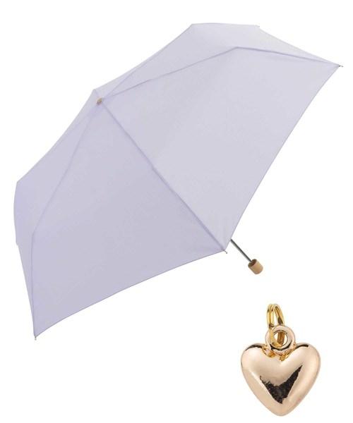 Wpc.(ダブルピーシー)の「【Wpc.】オンライン限定無地アンブレラ(晴雨兼用) ハートチャームmini(折りたたみ傘)」|パープル