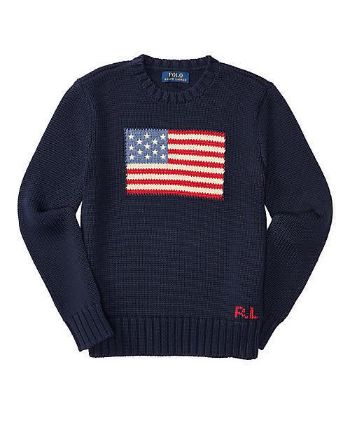 Polo Ralph Lauren Childrenswear(ポロラルフローレンチャイルドウェア)の「フラッグ コットン クルーネック セーター(ニット/セーター)」|ネイビー