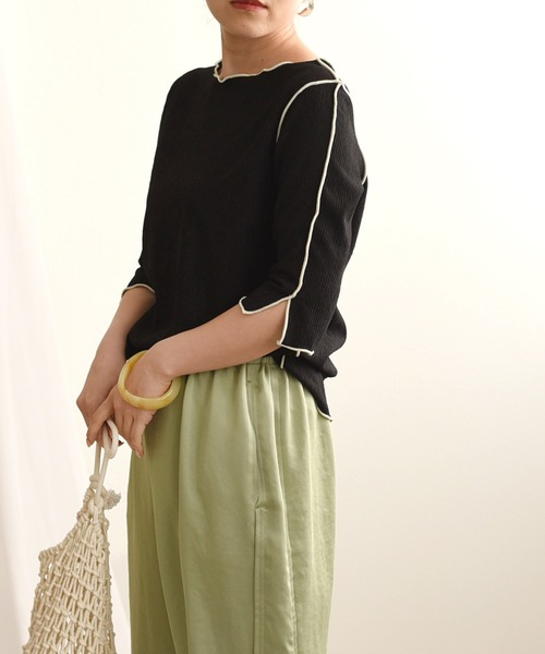 LHELBIE(レルビエ)の「配色メローカットソー(Tシャツ/カットソー)」 ブラック