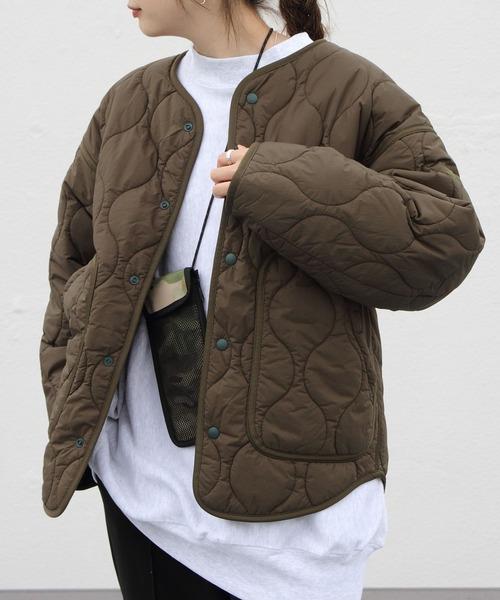 WILD THINGS/ワイルドシングス ノーカラーキルトジャケット NO COLLAR QUILTED JKT WTW21210SK