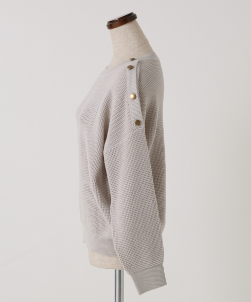 【洗濯機で洗える】肩釦ワッフル編みニットプルオーバー
